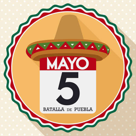 Flat design with round button with loose-leaf calendar and reminder date for Cinco de Mayo -written in Spanish- celebration decorated with a Mexican hat. Ilustrace