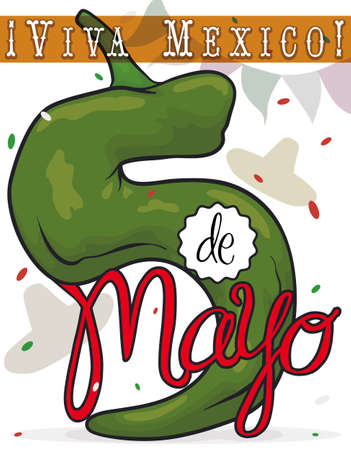 Festive poster with giant chili pepper like number five with confetti shower, Mexican hats and pennant to celebrate Cinco de Mayo (written in Spanish) event.