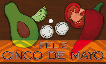 Poster with avocado, traditional ingredient to elaborate the guacamole, lemon, tequila shots, salt, tomato and chili pepper ready to celebrate Cinco de Mayo event (written in Spanish).