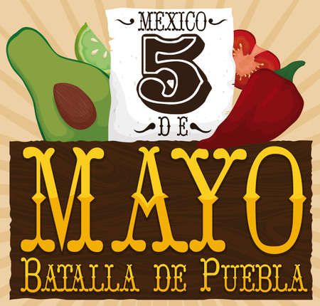 Poster with fresh veggies (avocado, lemon, chili pepper and tomato) and reminder date in paper, forming the colors of Mexican flag, commemorating Puebla Battle in Cinco de Mayo (written in Spanish).