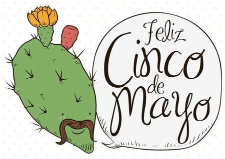 Poster with cute nopal bloomed with charro face remembering at you the traditional celebration of Cinco de Mayo (written in Spanish) in Mexico.