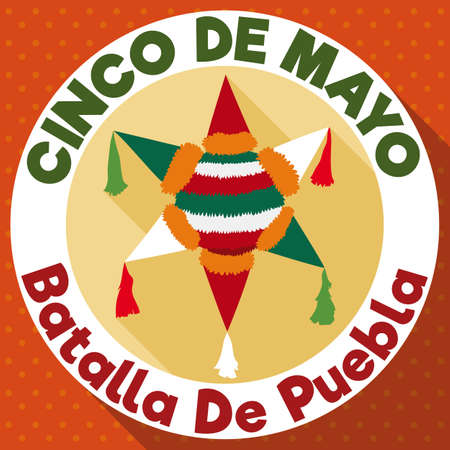 Round Button with pinata design in Mexican flag colors, ready to commemorate Puebla Battle in Cinco de Mayo (written in Spanish).