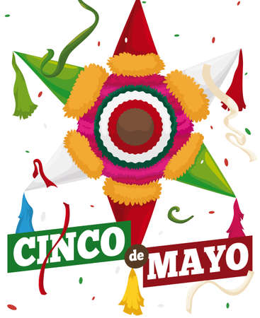 Poster with colorful pinata with Mexican flag colors  ready to celebrate Cinco de Mayo (written in Spanish) with streamer and confetti shower. Ilustração