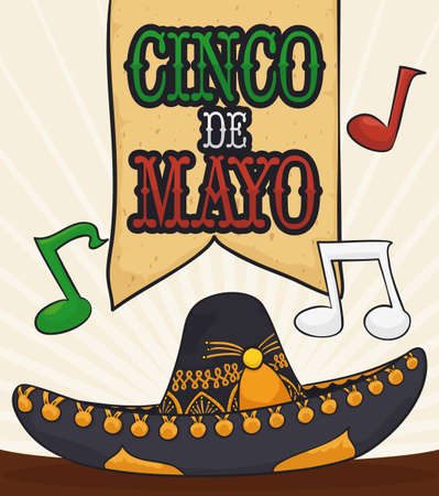 Poster with traditional Mexican mariachi hat with musical notes, ready to celebrate Cinco de Mayo (written in Spanish).