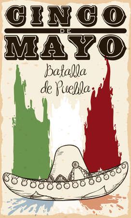 Promotional poster for Cinco de Mayo celebration (written in Spanish) with Mexican paintbrushes colors and mariachi's hat in hand drawn style squashing French flag colors.
