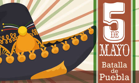 Banner with close up view of charro hat decorated with golden badges and label with Mexican colors for Cinco de Mayo celebration (written in Spanish).