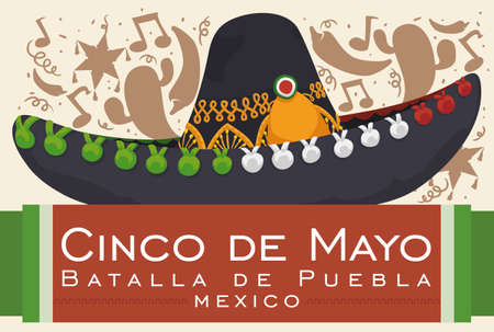 Poster with festive background silhouette and mariachi hat for Mexican celebration of Battle of Puebla in Cinco de Mayo (written in Spanish).