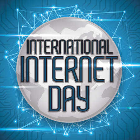 Silver round button with conceptual Earth planet, connected to the world wide network at International Internet Day. Çizim