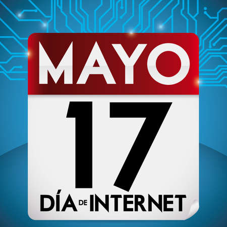 Poster with loose-leaf calendar over a cybernetic pattern background and reminder date for Spanish Internet Day celebration in May 17. Illusztráció