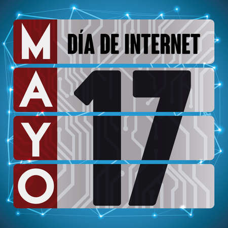 Poster with loose-leaf calendar like computer circuit placards with reminder date for Internet Day (written in Spanish). Çizim