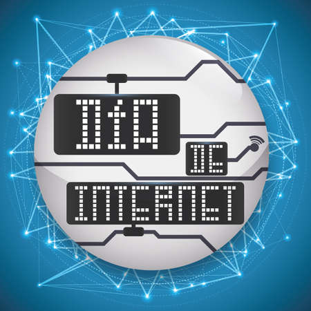 Commemorative design for  Internet Day (written in Spanish) with round button and network connections around it and display with greeting text. Ilustração