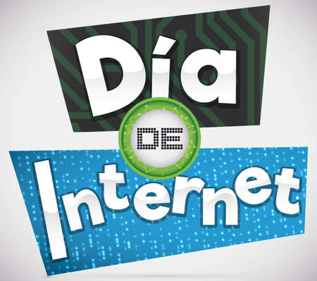 Poster with circuit board and placard with binary code design to commemorate Internet Day (written in Spanish).