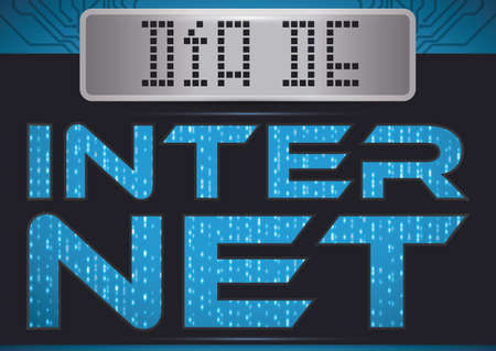 Promotional poster with design in binary code, digital display and blue circuit board  in the background for Internet Day (written in Spanish). Çizim