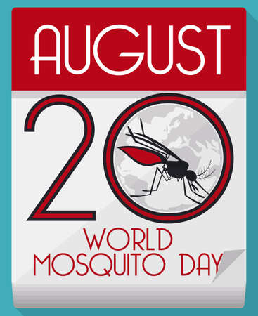 Poster in flat style and long shadow with a loose-leaf calendar and mosquito over globe inside number twenty to celebrate World Mosquito Day.
