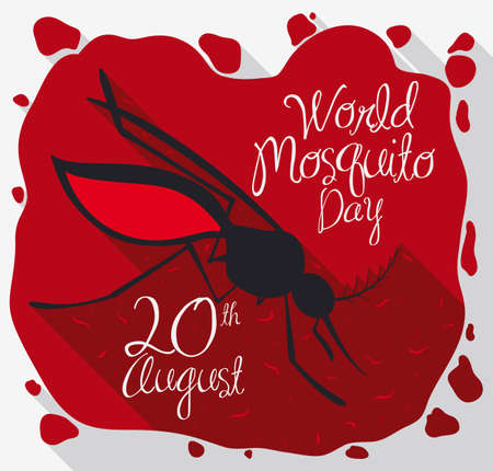 Poster in flat style with mosquito soaked in blood spreading infectious parasites to commemorate prevention in World Mosquito Day.