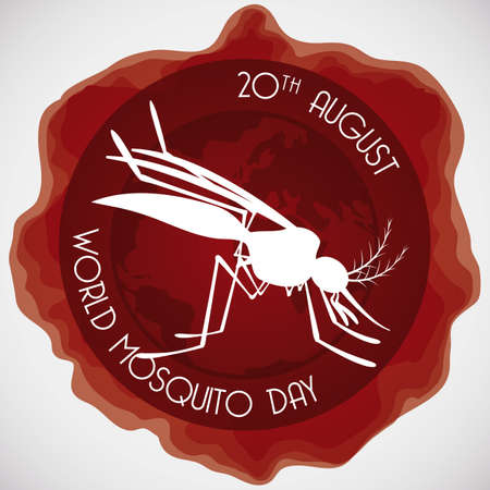 Round button soaked in blood with mosquito silhouette inside of it to celebrate World Mosquito Day.