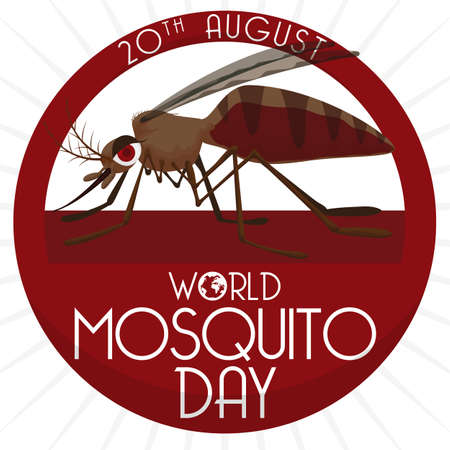 Poster with female mosquito inside in a round button with greeting message and date for World Mosquito Day.