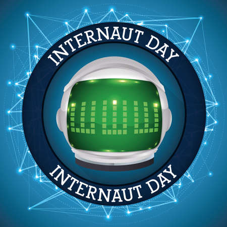 Round button with glowing digital connections and an astronaut helmet with www reflected in the visor to celebrate Internaut Day.
