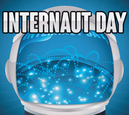 Poster with astronaut helmet reflecting the network connections of cyberspace for Internaut Day celebration.
