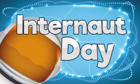 Promotional banner for Internaut Day with glowing network connections in a sign and astronaut helmet. Çizim