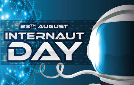 Banner with glowing network in the cyberspace with astronaut ready to surf it in the Internaut Day celebration in August 23. Çizim