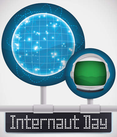 Commemorative round button with globe network and astronaut helmet, connected to the Web to celebrate Internaut Day. Çizim