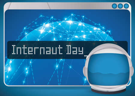 Poster with web browser showing the network to celebrate the Internaut Day with an astronaut helmet ready to navigate in cyberspace.