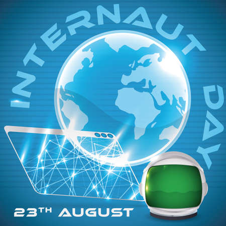 Poster with web browser with glowing network connections projecting a hologram of a globe and astronaut helmet for Internaut Day in August 23. Çizim