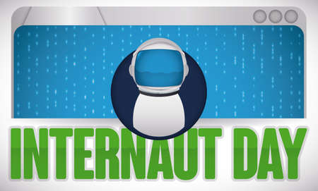 Banner with web browser showing a binary code and user design in middle of it with astronaut helmet to celebrate Internaut Day.