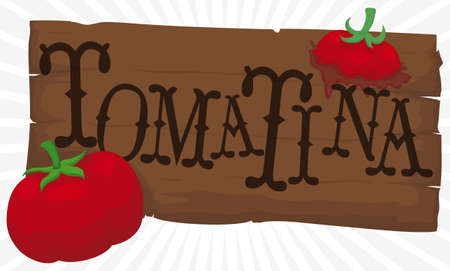 Banner with wooden sign with tomatoes splashed on it to celebrate Tomatina Festival. Çizim