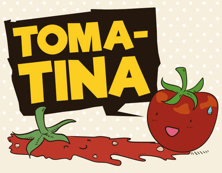 Poster with cute and funny tomato surprised to see a partner splashed with a speech balloon announcing Tomatina Festival.