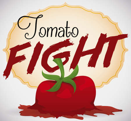Poster with a splashed tomato close to an elegant label promoting the fun of a Tomato Fight in the festival. Ilustração