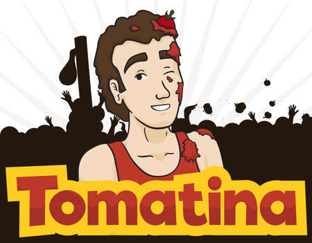 Poster with young man covered with splattered tomatoes with a multitude celebrating Tomatina Festival.