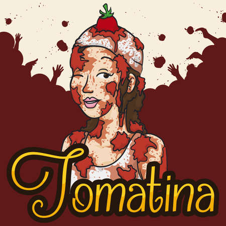 Poster with beautiful young woman all covered with tomatoes and a multitude in the background celebrating Tomatina Festival.