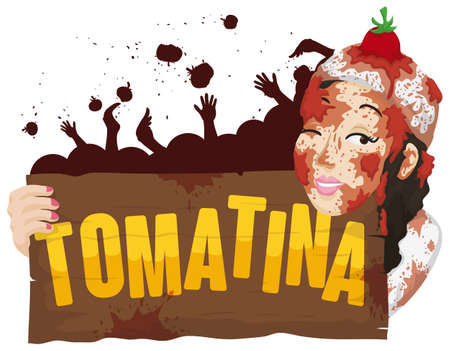 Poster with young woman all covered with tomatoes holding a greeting wooden sign and a crowd celebrating Tomatina (tomato throwing festival). 矢量图像