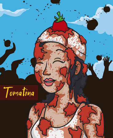 Young smiling woman covered with tomatoes and a multitude celebrating the tomato throwing event or Tomatina Festival. 矢量图像
