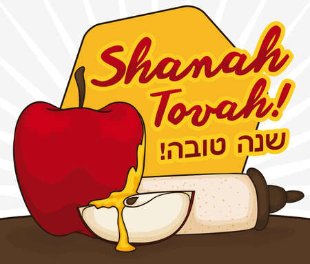 Commemorative poster with an apple and slice of it, spread with honey, scroll and a greeting for good Jewish New Year ('Shanah Tovah' written in Hebrew).