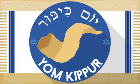 Banner in flat style and long shadow with traditional Shofar horn over round label and white tallit with stripes and fringes, ready to celebrate Yom Kippur (or Day of Atonement, written in Hebrew).