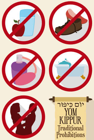 Design in flat style with prohibitions in forbidden signals and scroll for Yom Kippur (written in Hebrew): no eat and drink, no bath, no wear perfumes, no wear leather shoes and don't have sex.