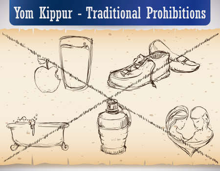 Hand drawn design in a scroll with the traditional prohibitions on Yom Kippur: don't eat and drink, no wearing leather shoes, no bathing or washing, don't use perfume or lotions and don't have sex.