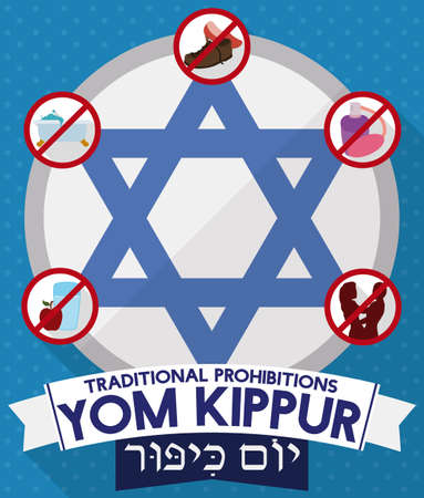 Flat design with David's star and five prohibitions for Yom Kippur (written in Hebrew): no eat and drink, no bath, no perfumes usage, no wear leather shoes and don't have sex.