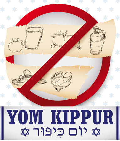 Signal with prohibitions on Yom Kippur (written in Hebrew, over tallit): no eat and drink, no bath, no wear perfumes, no wear leather shoes and don't have sex in hand drawn style over scrolls.