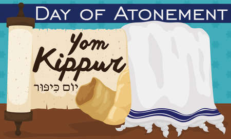 Banner with traditional scroll, white tallit with blue stripes and shofar horn over starry background to celebrate Jewish Yom Kippur or Day of Atonement (written in Hebrew).