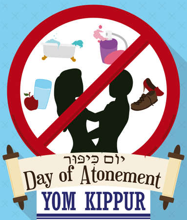Prohibitions on Yom Kippur (or Day of Atonement, written in Hebrew) in forbidden signal: no eat and drink, no bath, no wear perfumes, no wear leather shoes and don't have sex, scrolls and tallit. Stock Illustratie