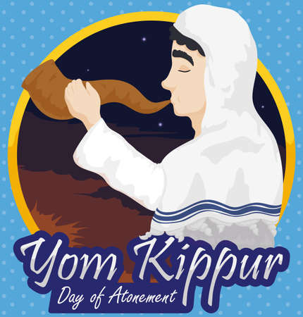 Poster with Jewish man wearing a white tallit and blowing a Shofar horn in a dawn of Yom Kippur or Day of Atonement, announcing the beginning of the prayers and abstentions.