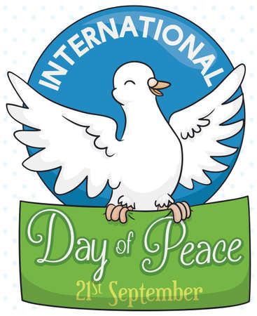 Poster with a white dove with wide open wings holding a green sign for International Day of Peace in September 21. Illustration