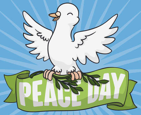 Poster with festive white dove with an olive branch and greeting ribbon commemorating International Day of Peace.