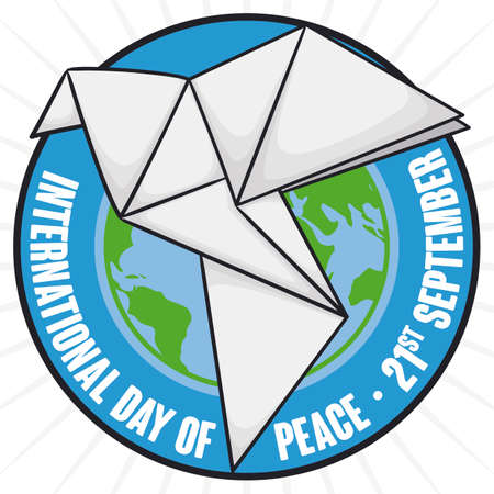 Round button with planet inside it and white origami dove symbolizing the desire of peace during International Day of Peace celebration this 21st September.