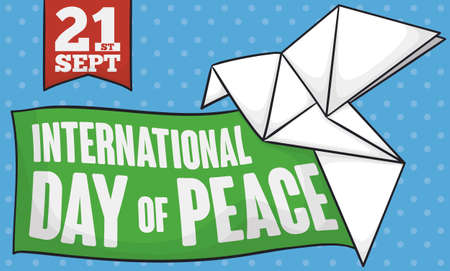 Commemorative banner for International Day of Peace with green ribbon with reminder date, sign and beautiful white origami dove as peace symbol to celebrate in September 21.