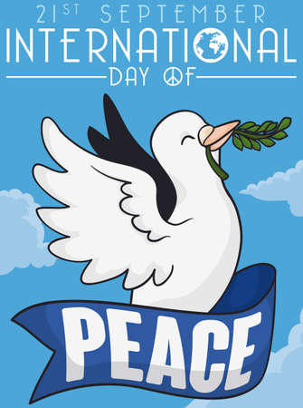 Commemorative poster for International Day of Peace with happy white dove holding a ribbon around it flying in the sky holding a olive branch in its beak.